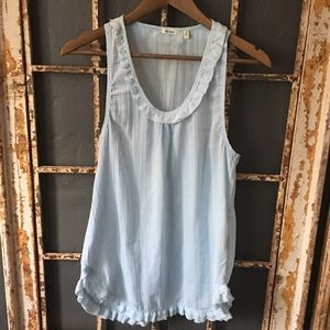 Dylan Tunic Style Tank Top. Baby Blue size small